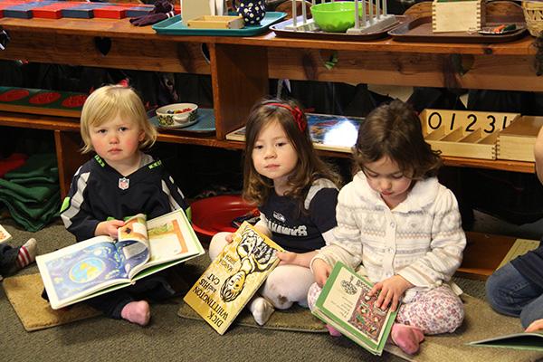 Reading time at Hazel Creek Montessori, Bainbridge Island
