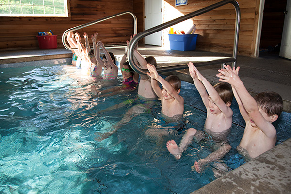 Swimming lessons at Hazel Creek Montessori, Bainbridge Island